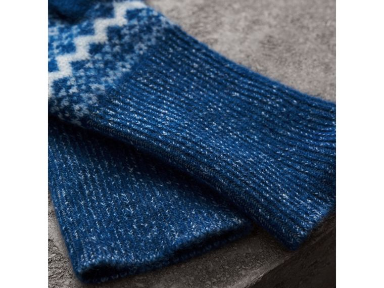 Fair Isle Cashmere Fingerless Gloves in Cobalt Blue | Burberry - cell image 2