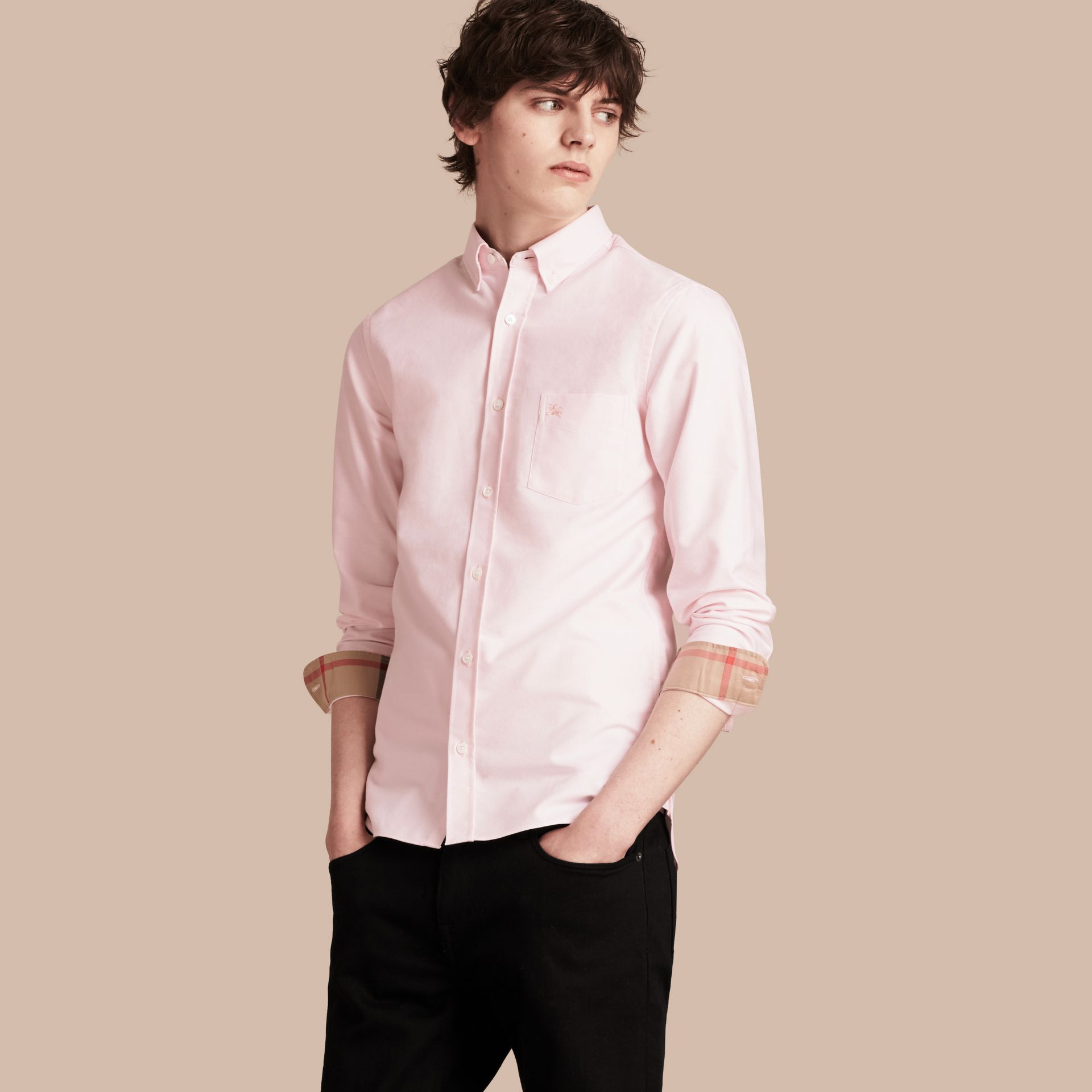 Pale pink Check Detail Cotton Oxford Shirt Pale Pink - gallery image 1