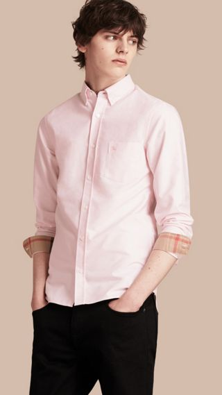 Check Detail Cotton Oxford Shirt