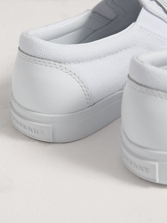 Doodle Print Slip-on Trainers in Optic White | Burberry - cell image 2