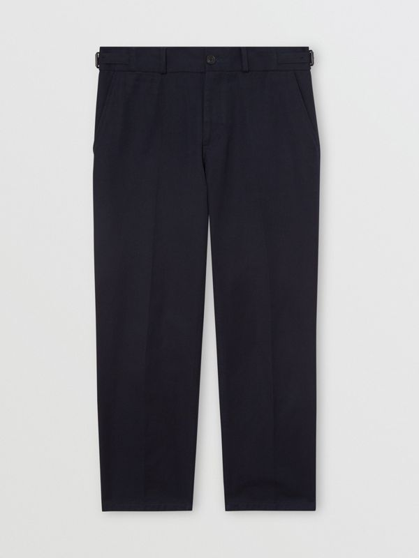 Cotton Blend Twill Cropped Chinos in Dark Navy - Men | Burberry United Kingdom - cell image 3