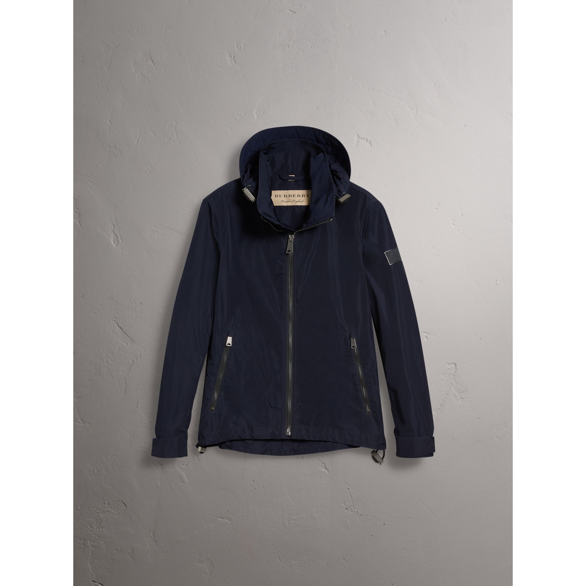 Packaway Hood Showerproof Jacket in Navy - Men | Burberry - gallery image 4