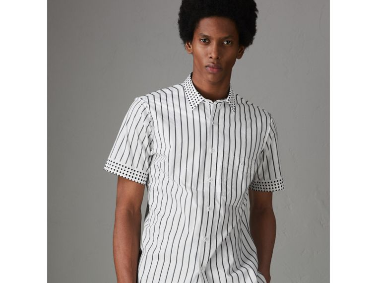 Short-sleeve Stripe and Spot Print Cotton Shirt in Black - Men | Burberry - cell image 4