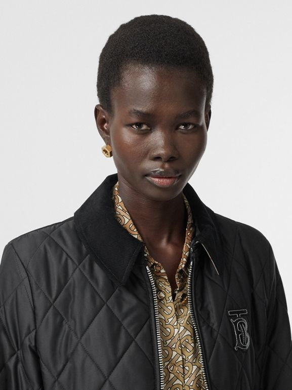 Monogram Motif Quilted Riding Coat in Black - Women | Burberry United Kingdom - cell image 1