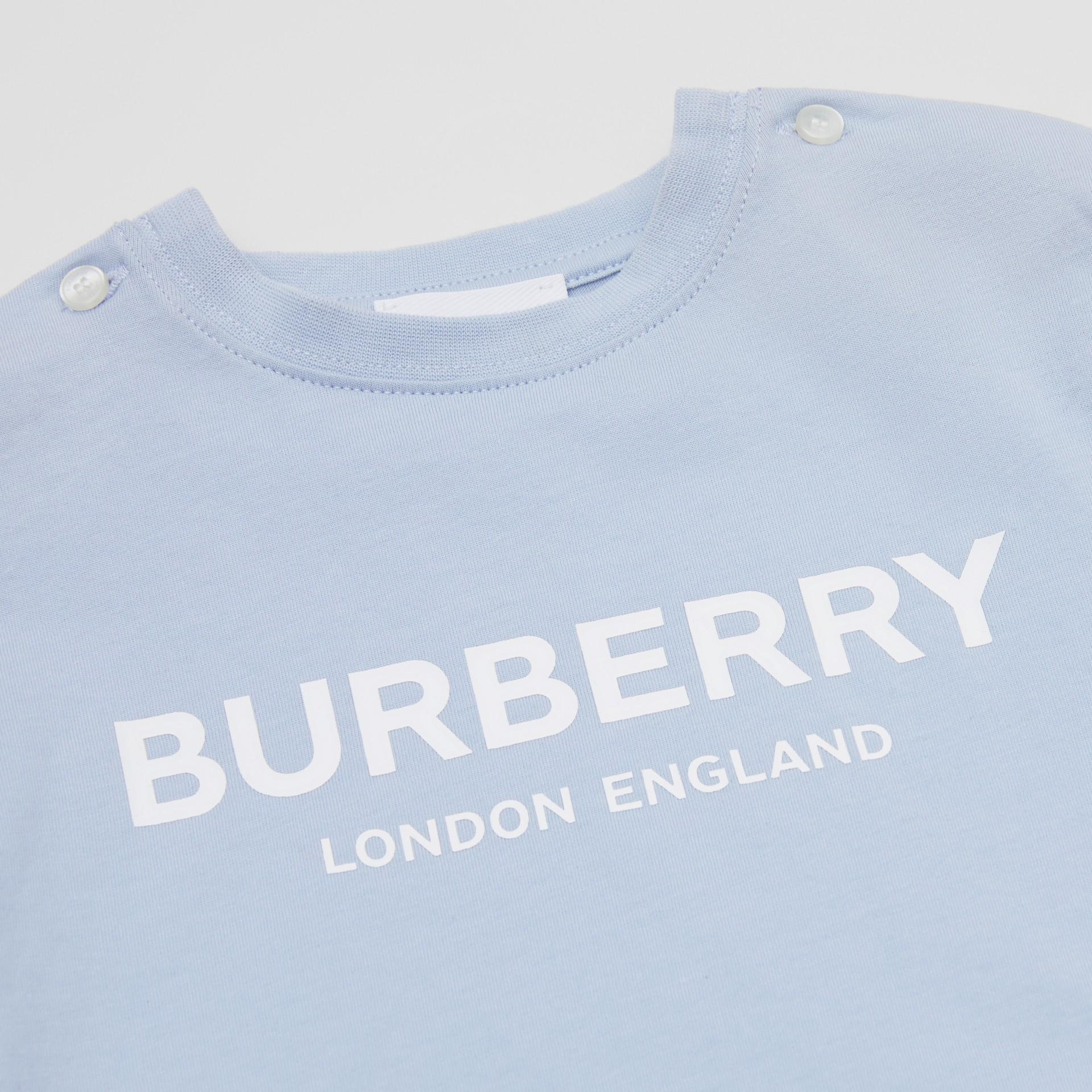 Logo Print Cotton T-shirt in Light Blue - Children | Burberry Canada - gallery image 1