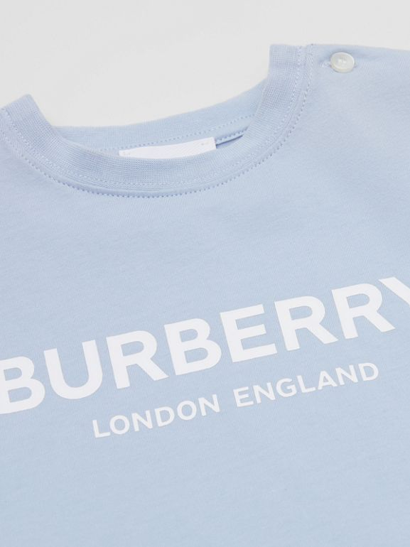 Logo Print Cotton T-shirt in Light Blue - Children | Burberry Canada - cell image 1