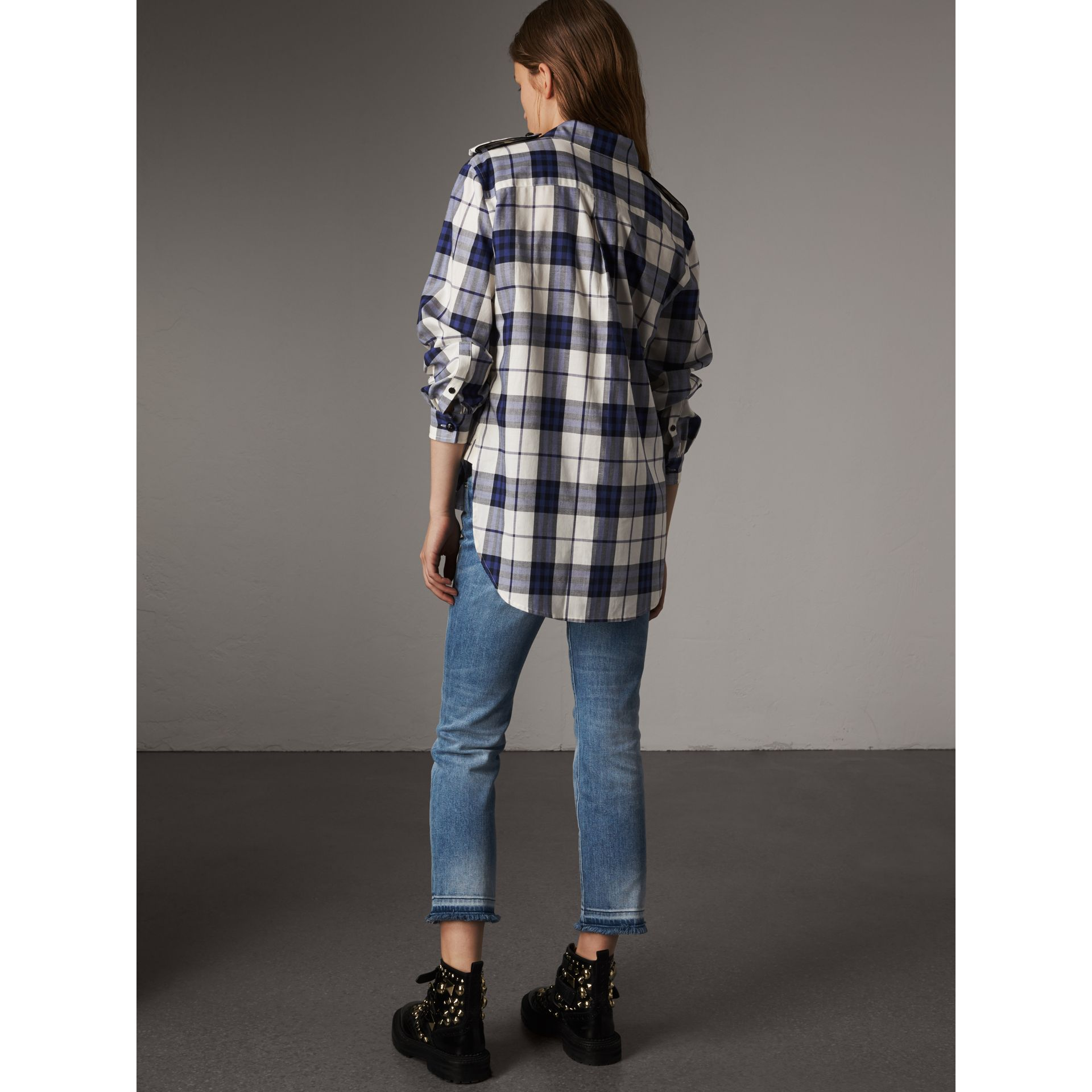 Check Cotton Flannel Military Shirt in Bright Navy - Women | Burberry - gallery image 1