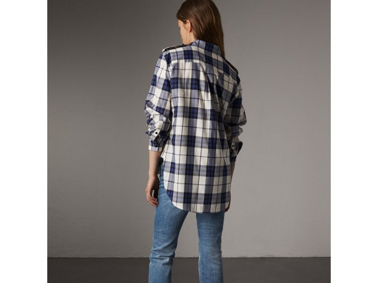 Check Cotton Flannel Military Shirt in Bright Navy - Women | Burberry - cell image 1