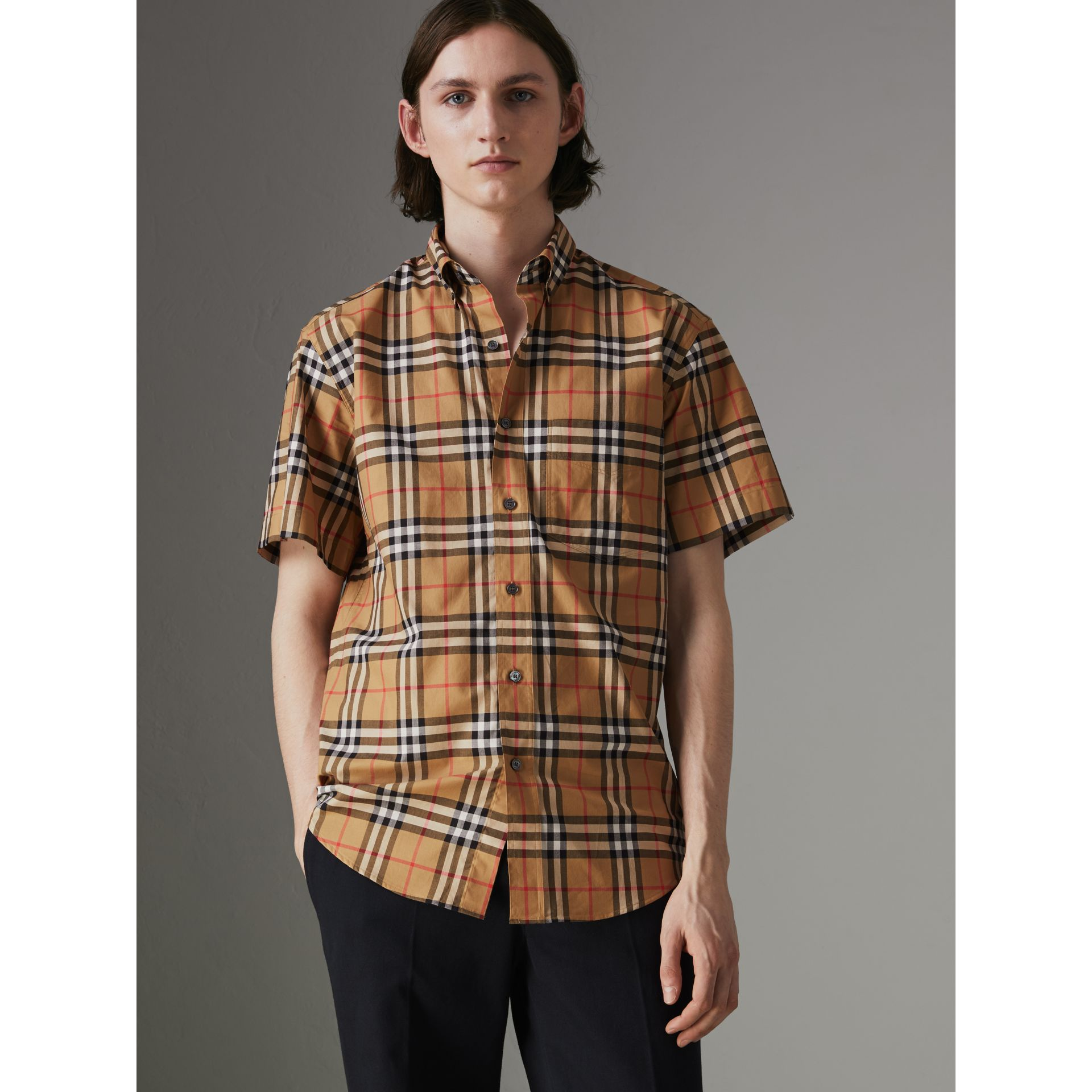 Short-sleeve Vintage Check Shirt in Antique Yellow - Men | Burberry United Kingdom - gallery image 0