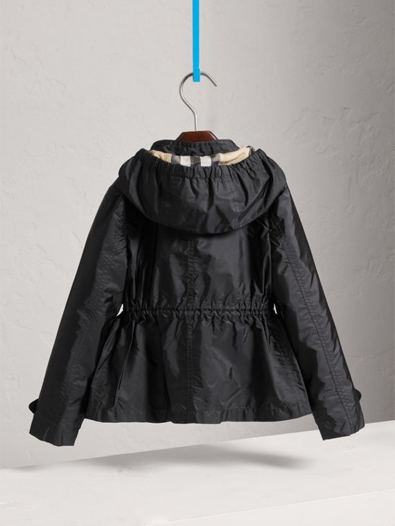 Hooded Packaway Technical Jacket in Black - Girl | Burberry - cell image 3