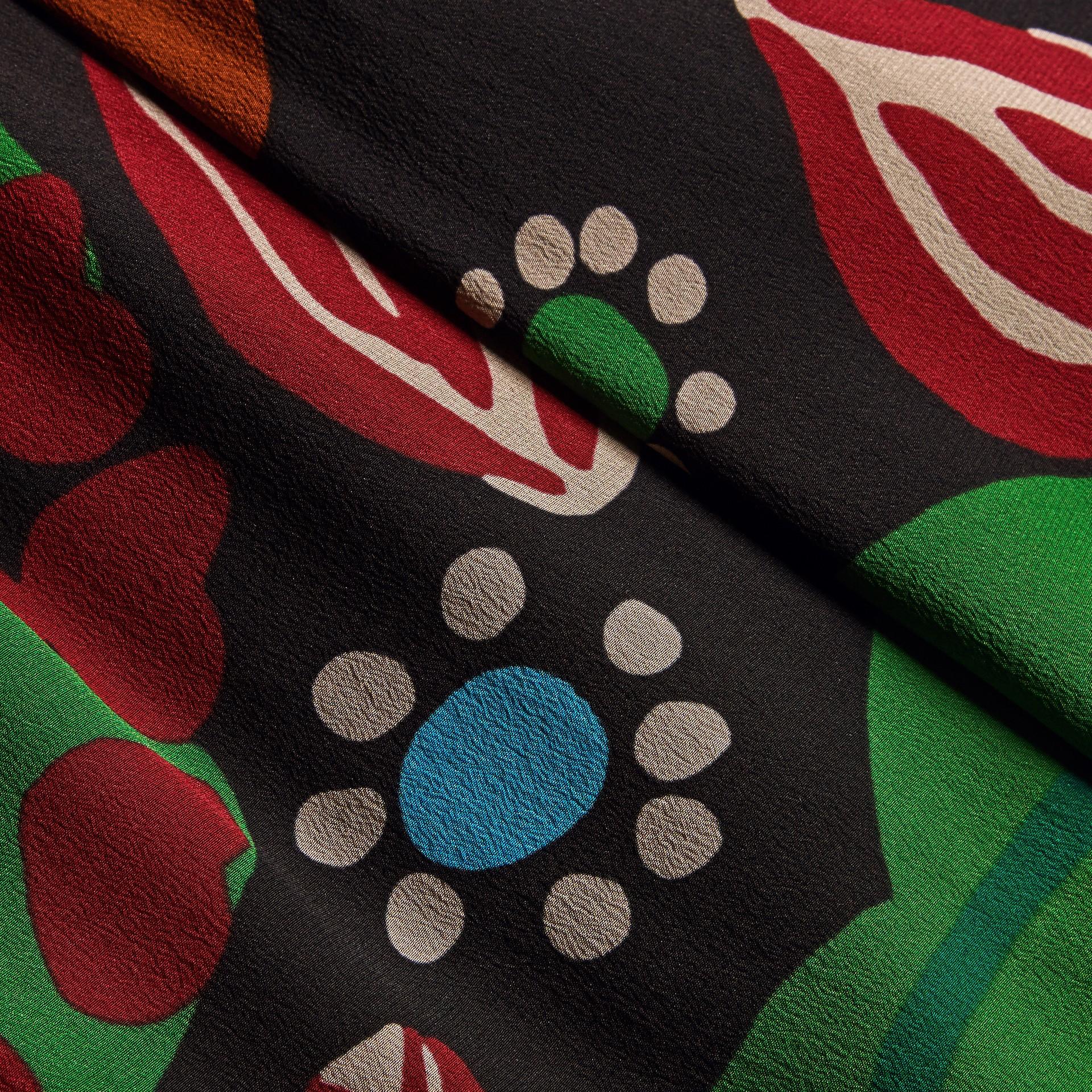 Deep navy Floral Print Silk Crepe De Chine Skirt - gallery image 2
