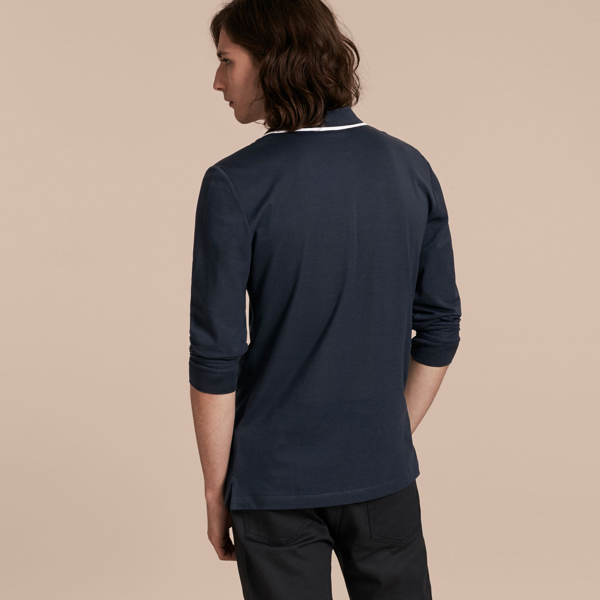 Long-sleeved Tipped Cotton Piqué Polo Shirt Navy - gallery image 3