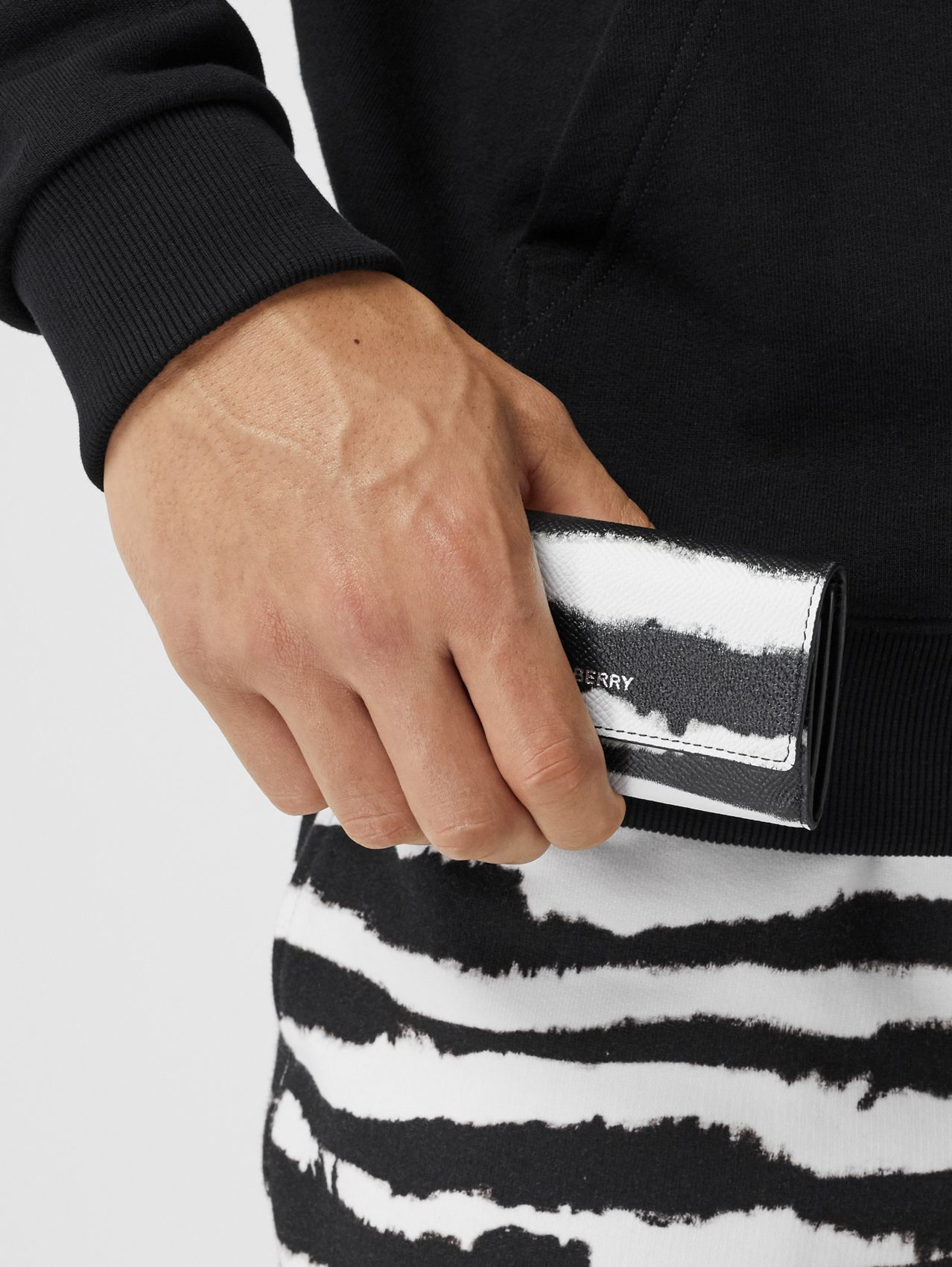 Small Watercolour Print Wallet with Detachable Strap in Black/white