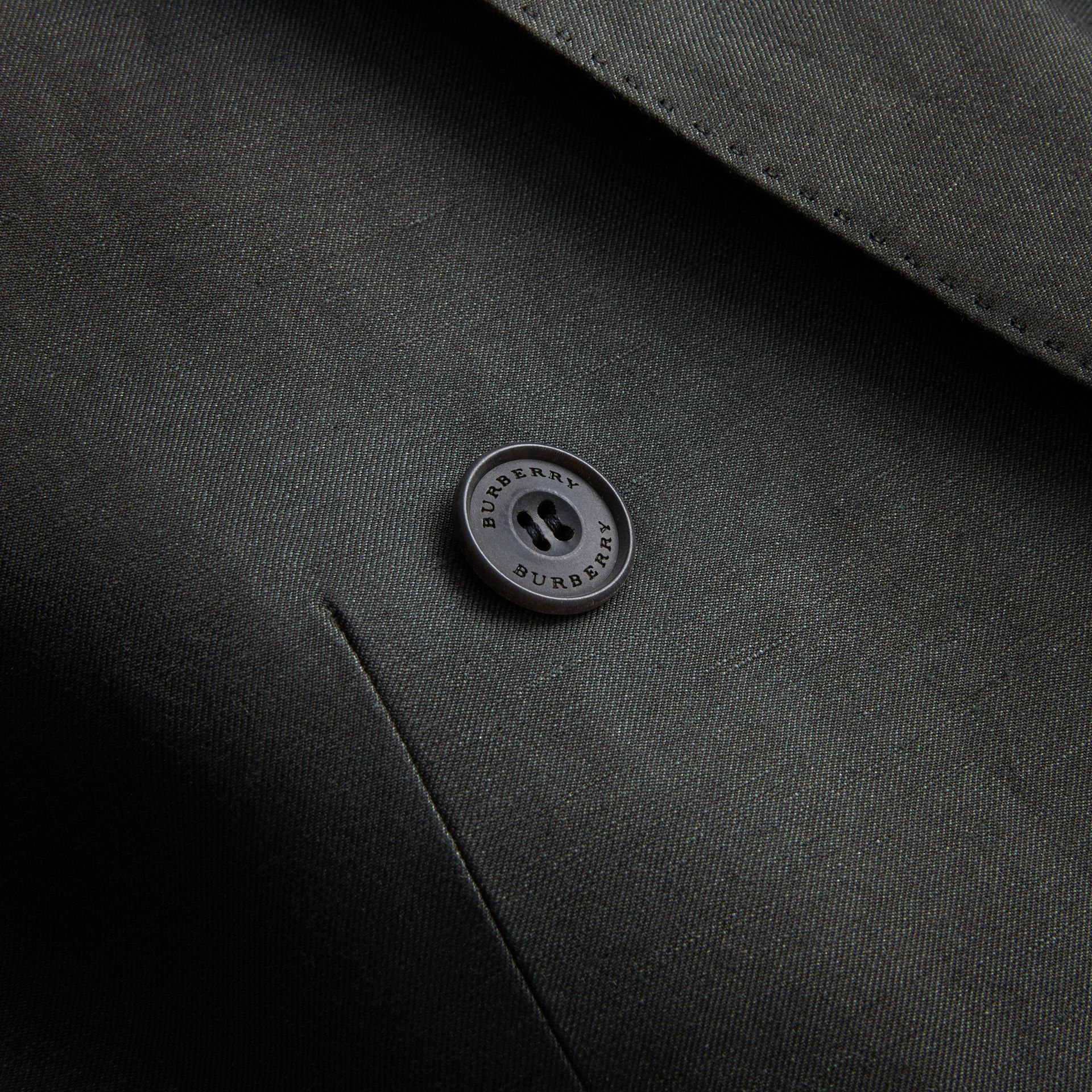 Slim Fit Travel Tailoring Linen Blend Suit in Slate Green - Men | Burberry - gallery image 2