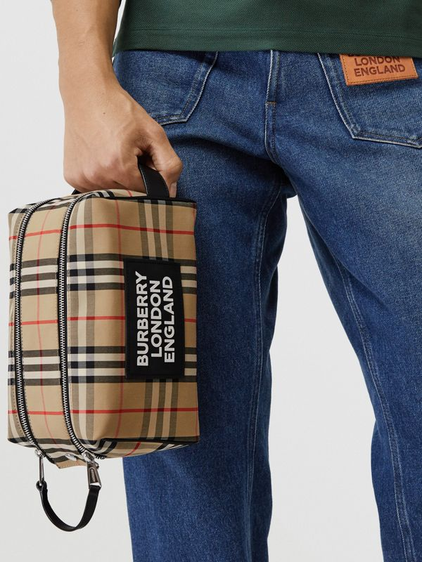 Logo Appliqué Vintage Check Travel Pouch in Archive Beige - Men | Burberry - cell image 2