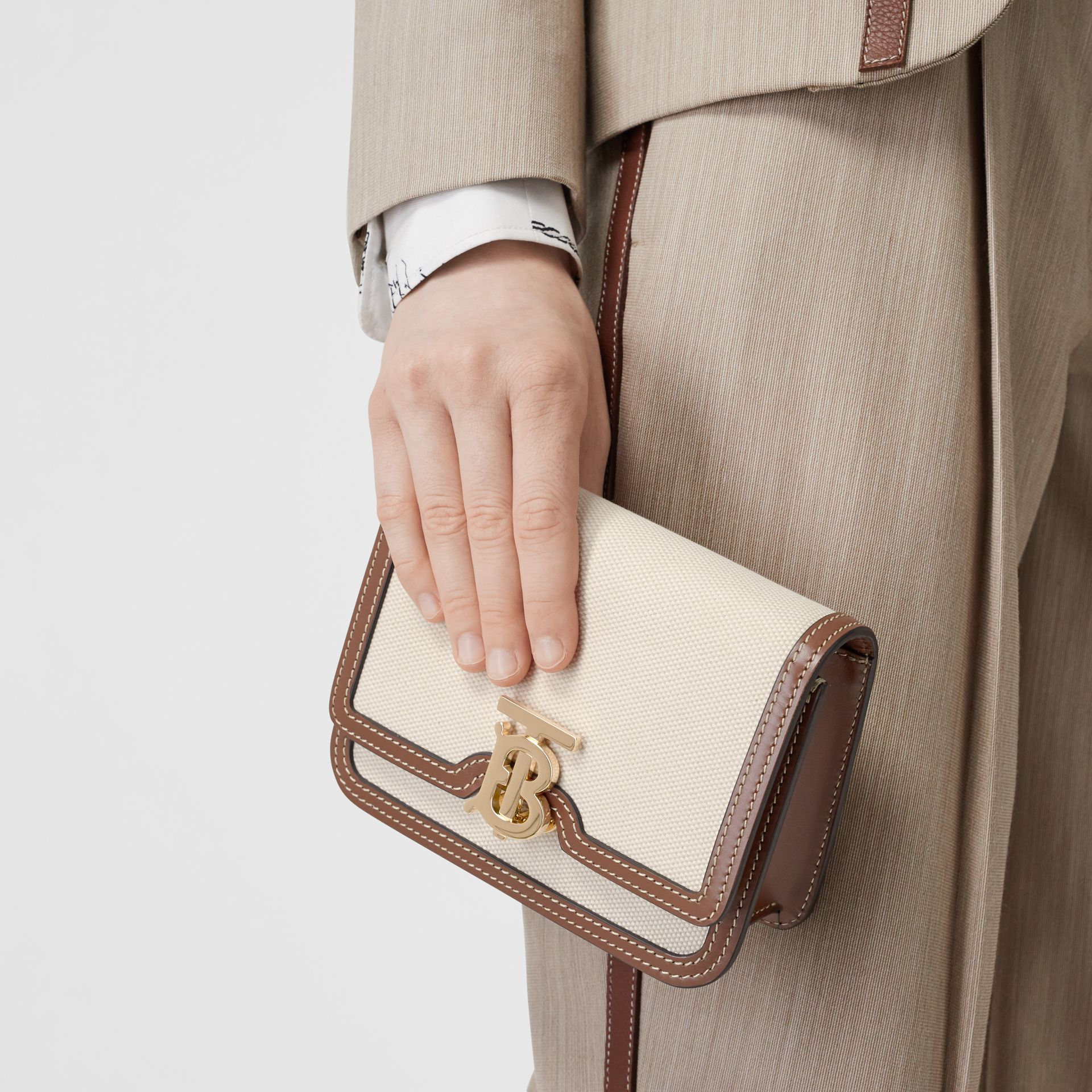 Mini Two-tone Canvas and Leather TB Bag in Natural/malt Brown - Women | Burberry Hong Kong S.A.R - gallery image 2