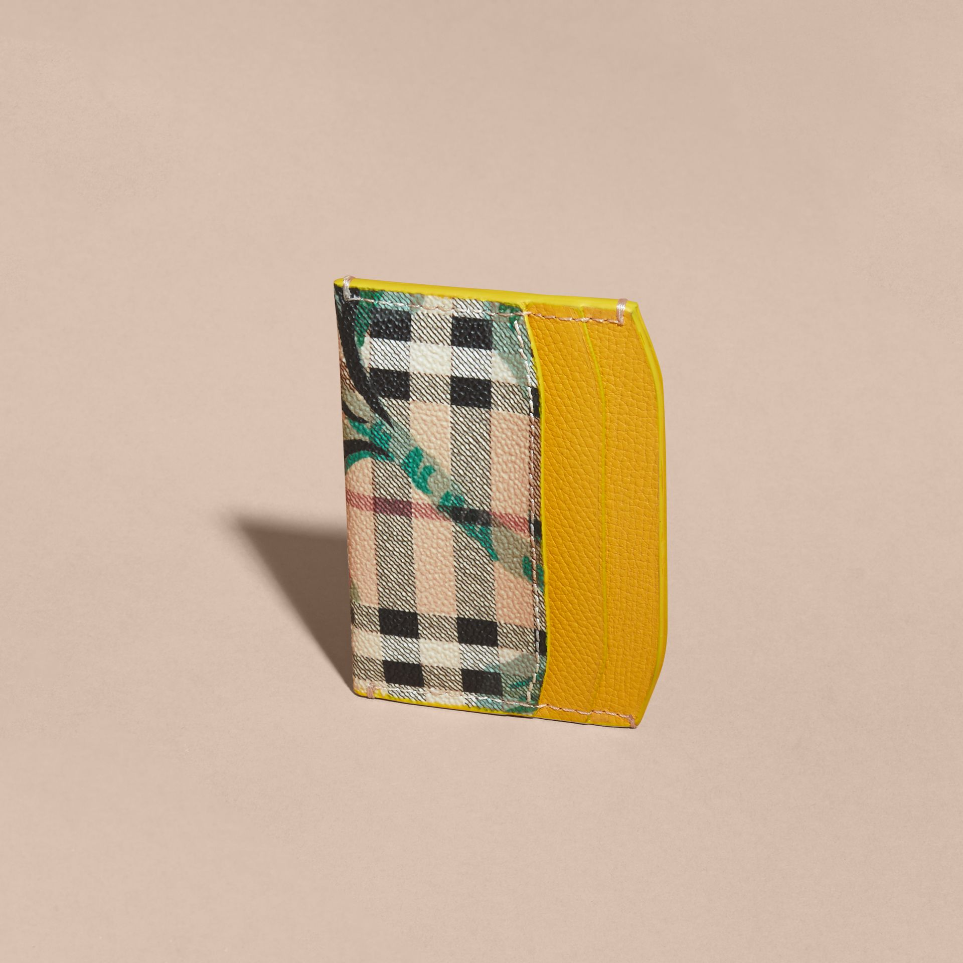 Peony Rose Print Haymarket Check and Leather Card Case in Larch Yellow/emerald Green - gallery image 4