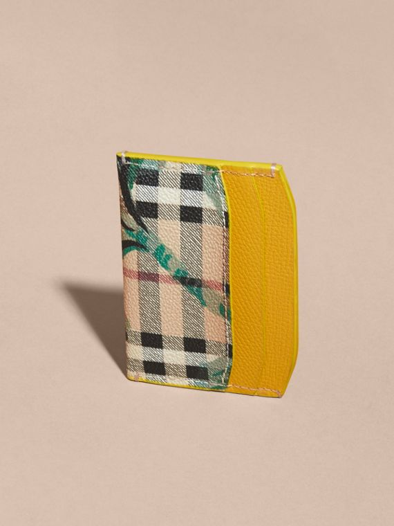 Peony Rose Print Haymarket Check and Leather Card Case in Larch Yellow/emerald Green - cell image 3