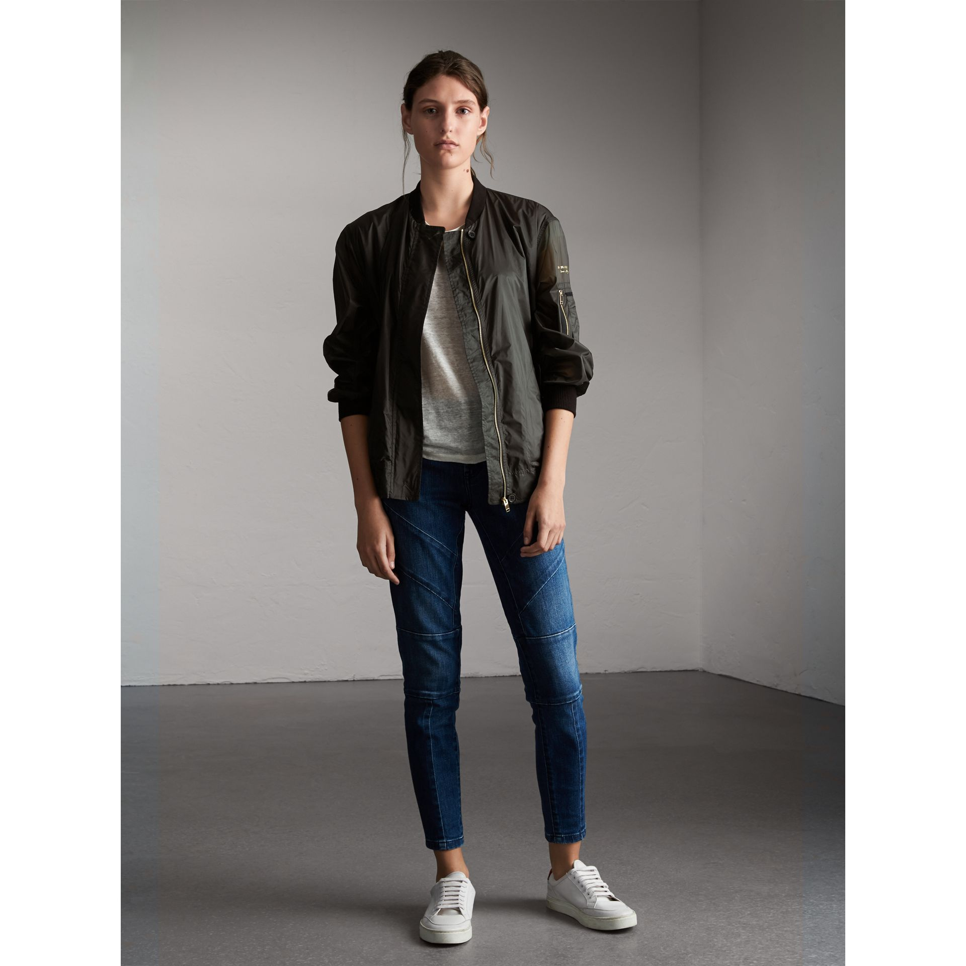 Lightweight Bomber Jacket in Vintage Green - Women | Burberry - gallery image 1