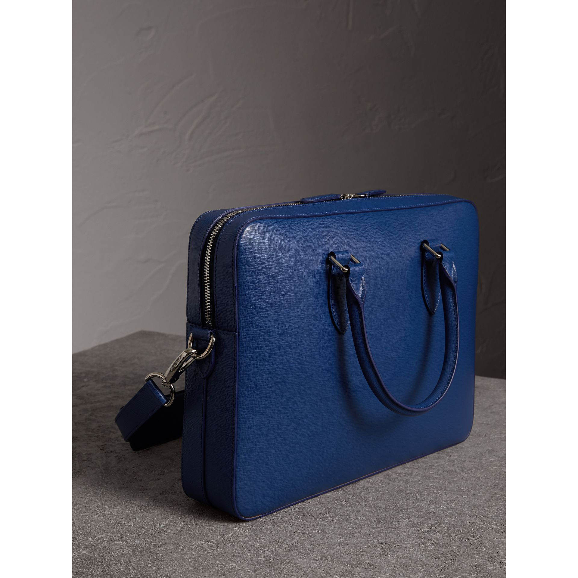 London Leather Briefcase in Deep Blue - Men | Burberry - gallery image 4