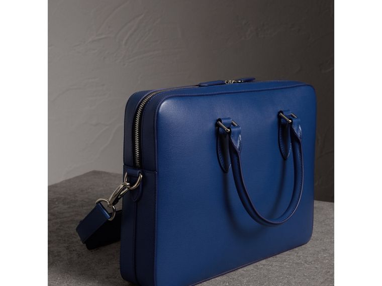 London Leather Briefcase in Deep Blue - Men | Burberry - cell image 4