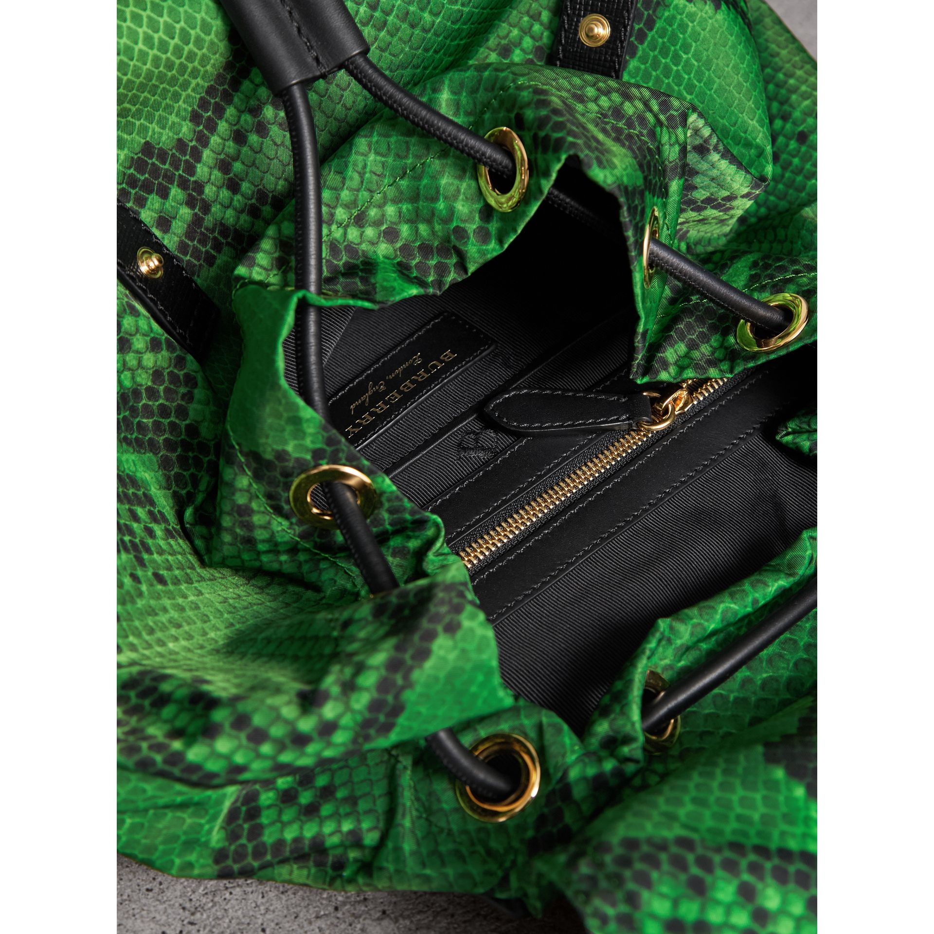 The Large Rucksack in Python Print Nylon and Leather in Green - Women | Burberry - gallery image 5