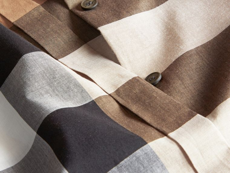 Taupe brown Check Cotton Shirt Taupe Brown - cell image 1