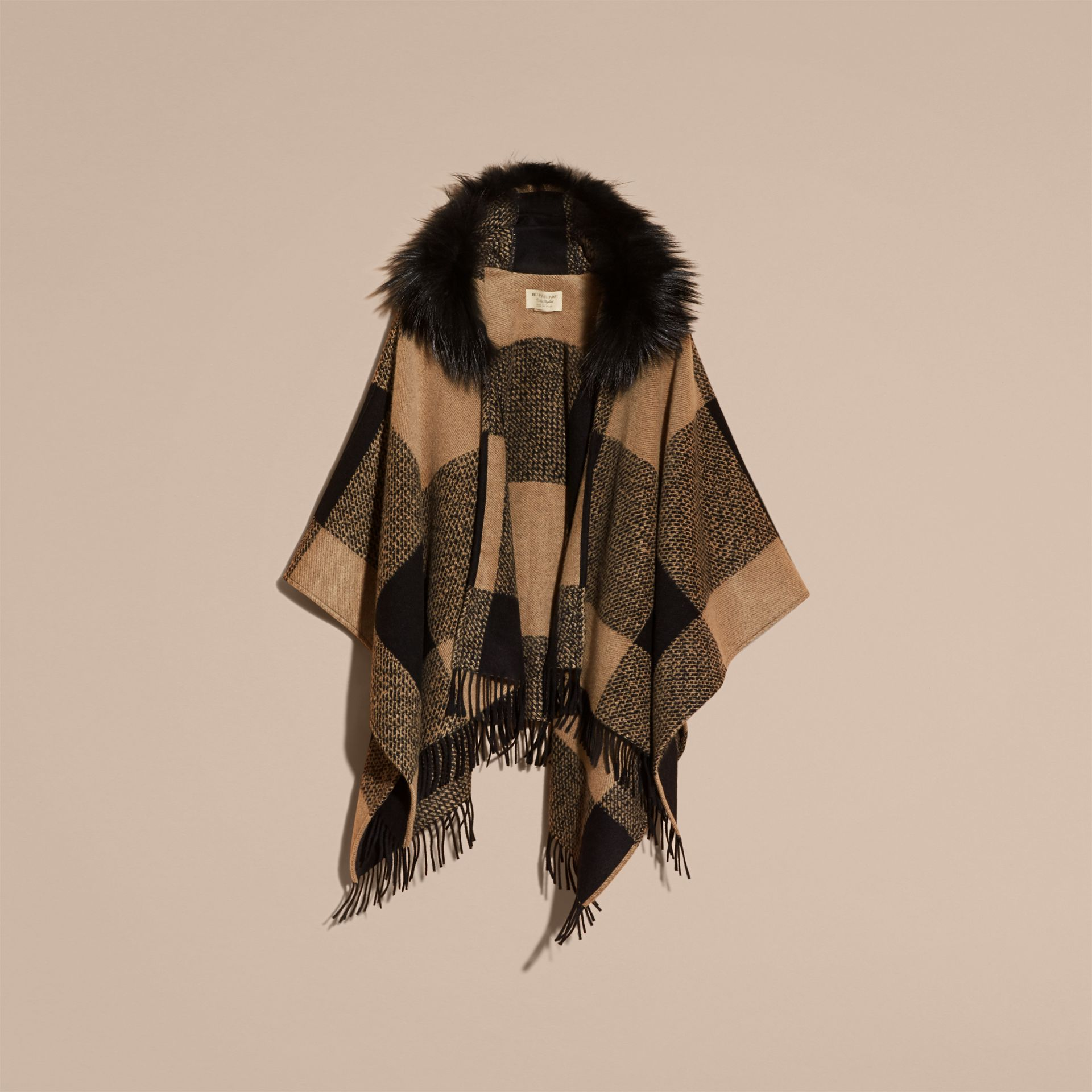Camel Fur-trimmed Buffalo Check Wool Cashmere Poncho Camel - gallery image 4