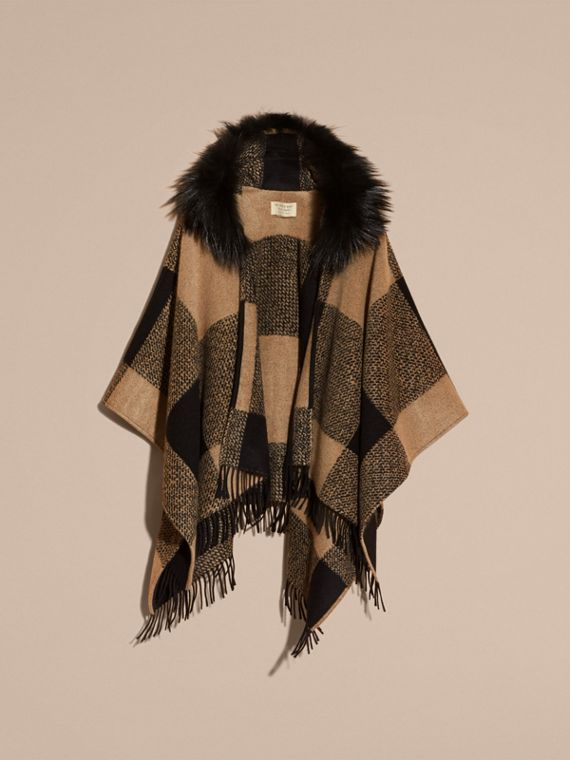 Camel Fur-trimmed Buffalo Check Wool Cashmere Poncho Camel - cell image 3