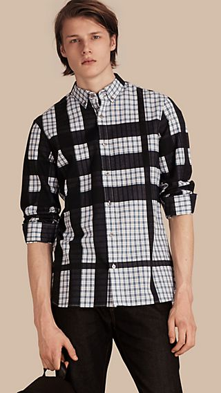 Check Jacquard Cotton Flannel Shirt