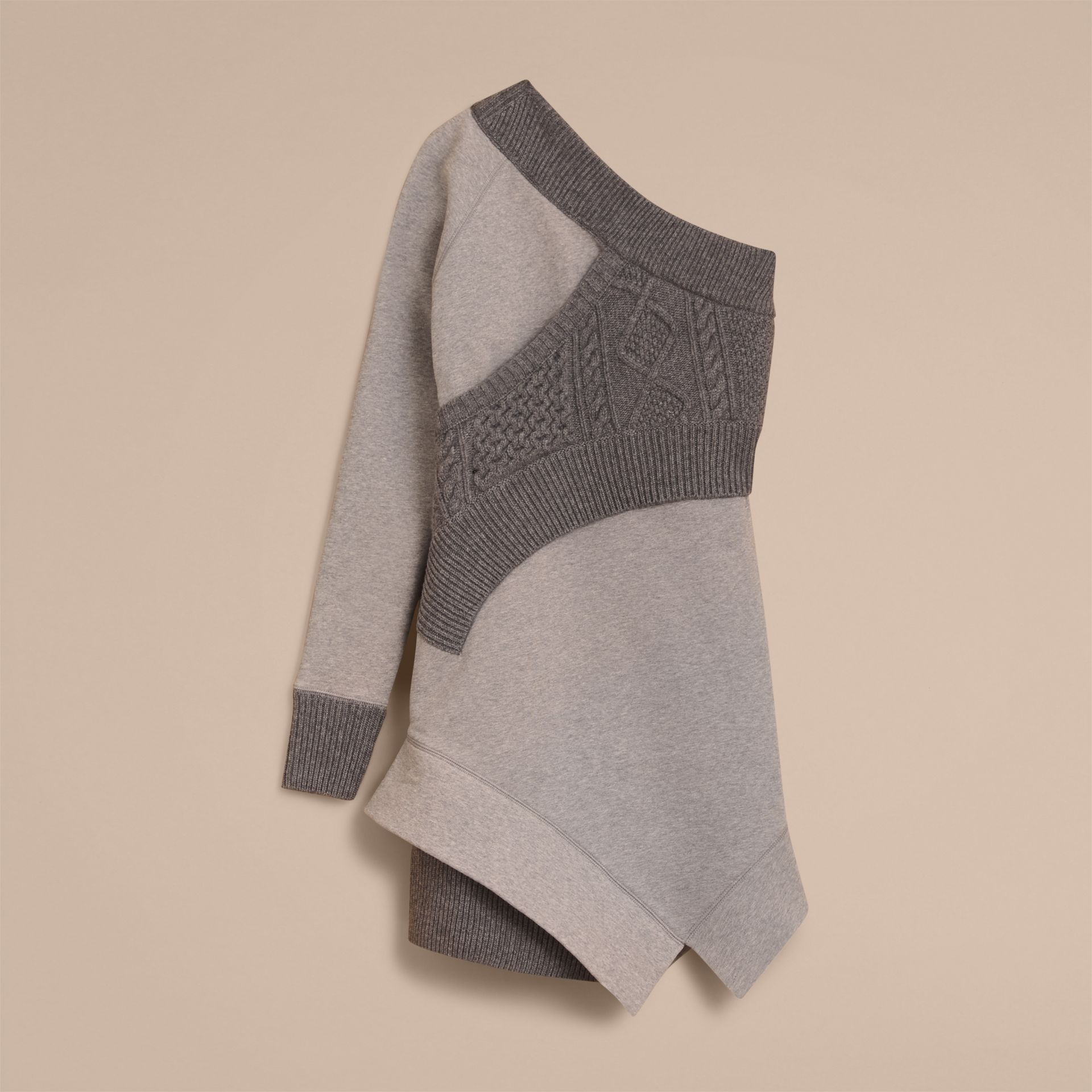 Cable Knit Panel Sweatshirt Dress in Grey Melange - Women | Burberry - gallery image 3
