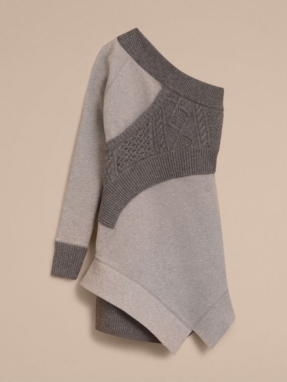 Cable Knit Panel Sweatshirt Dress in Grey Melange - Women | Burberry - cell image 3