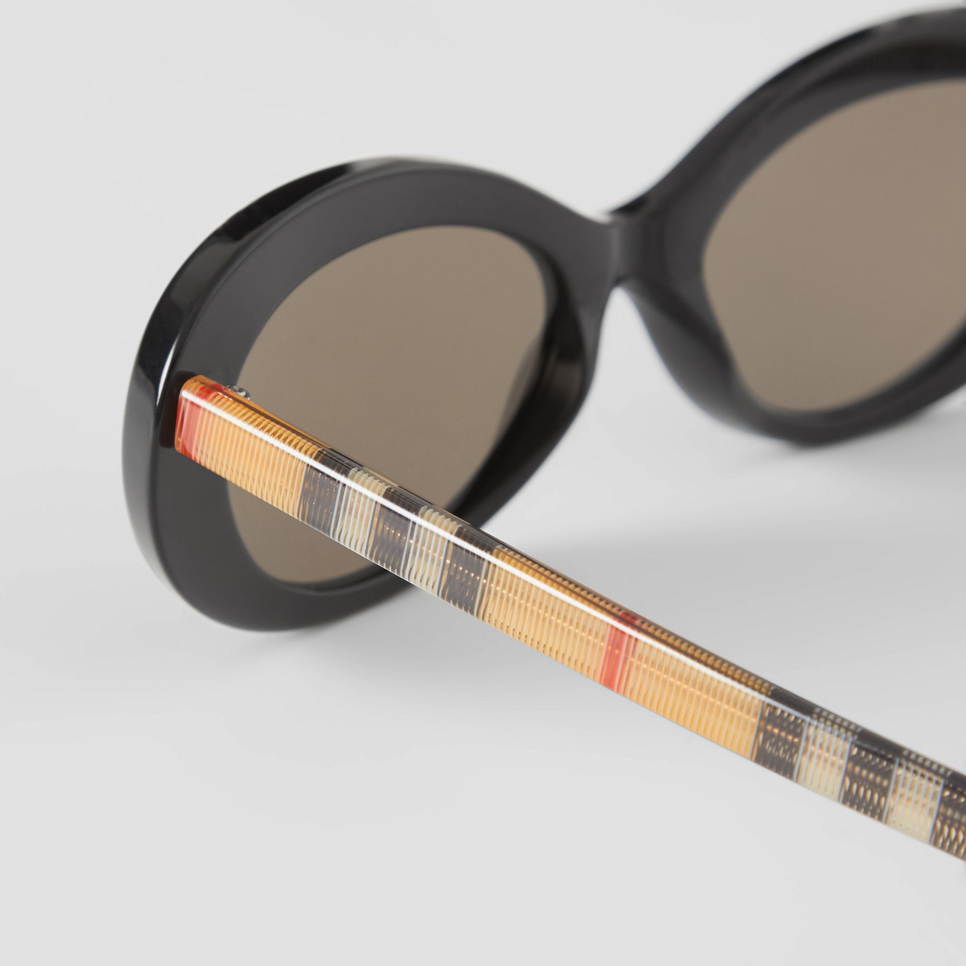 Vintage Check Detail Cat-eye Frame Sunglasses in Black - Women | Burberry Singapore - gallery image 1