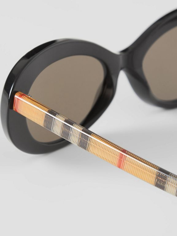 Vintage Check Detail Cat-eye Frame Sunglasses in Black - Women | Burberry Singapore - cell image 1