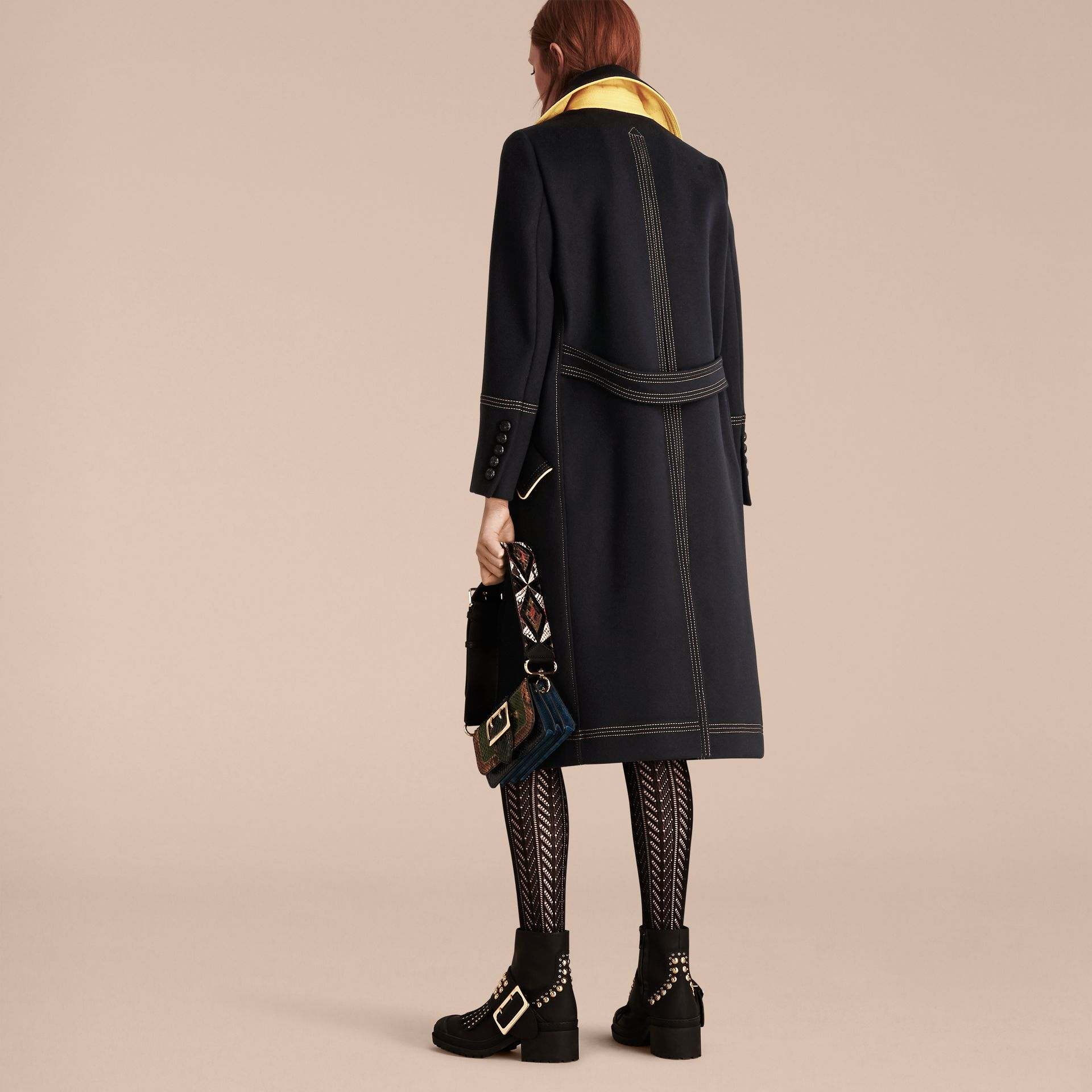Ink Tailored Wool Coat With Contrast Details - gallery image 3
