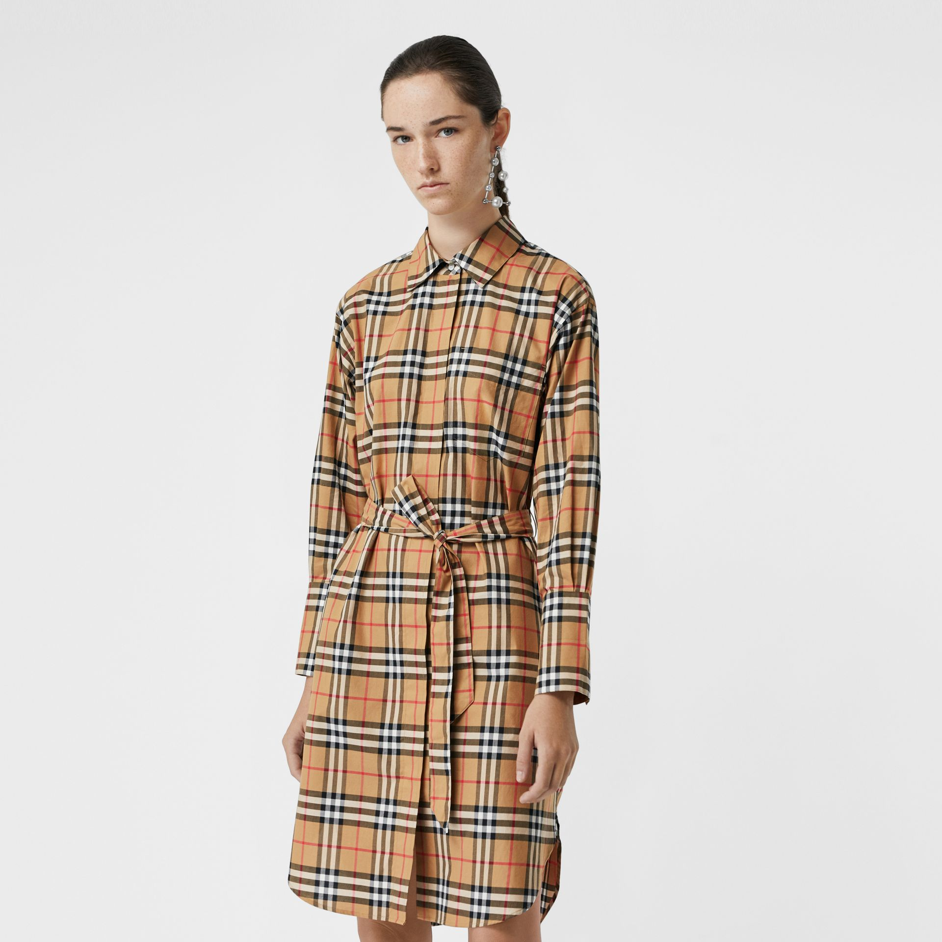 Vintage Check Cotton Tie-waist Shirt Dress in Antique Yellow | Burberry Hong Kong - gallery image 0
