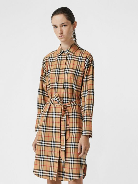 bfdf2e47e339 Vintage Check Cotton Tie-waist Shirt Dress in Antique Yellow