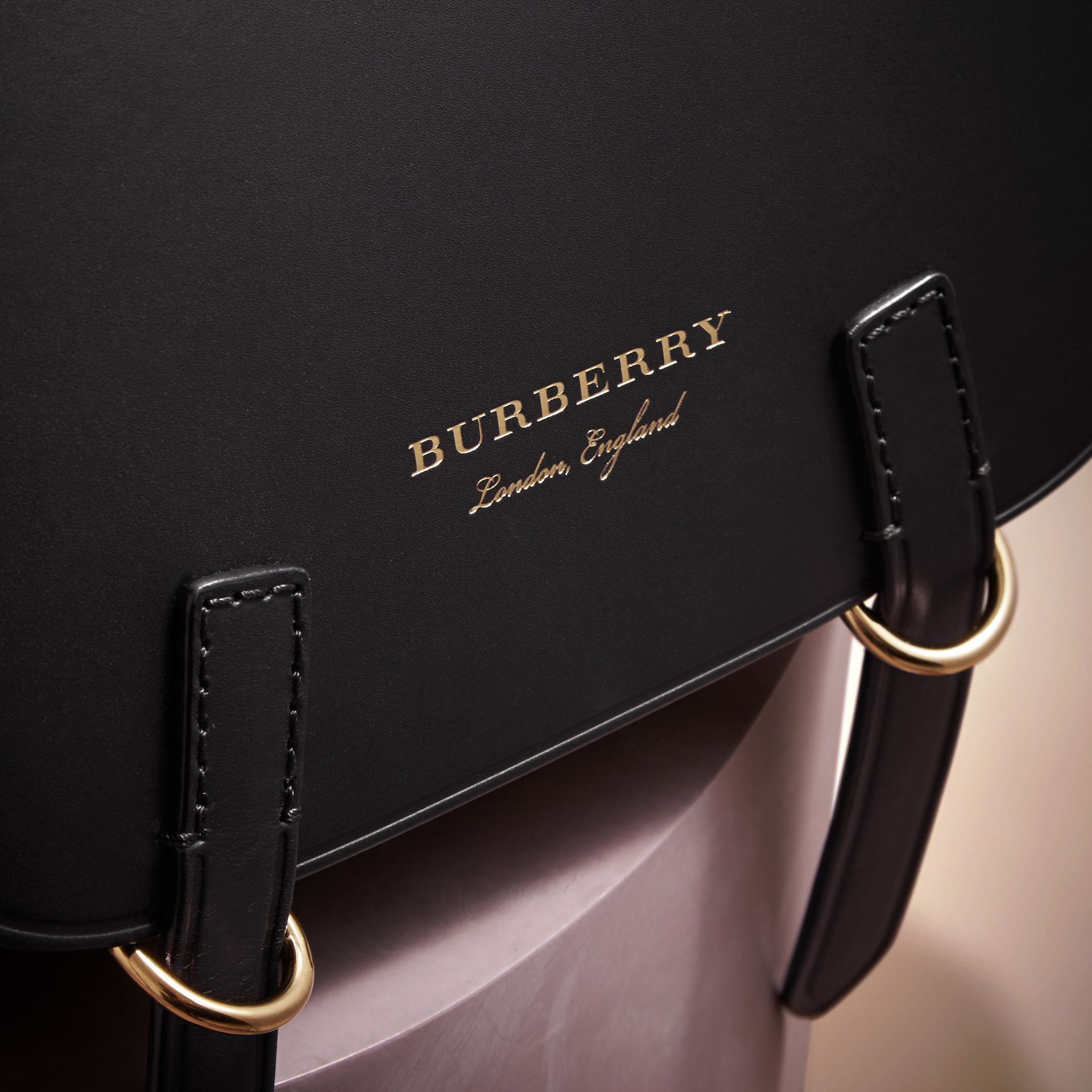 Borsa The Bridle in pelle, motivo Haymarket check e alligatore (Nero) - Donna | Burberry - immagine della galleria 2