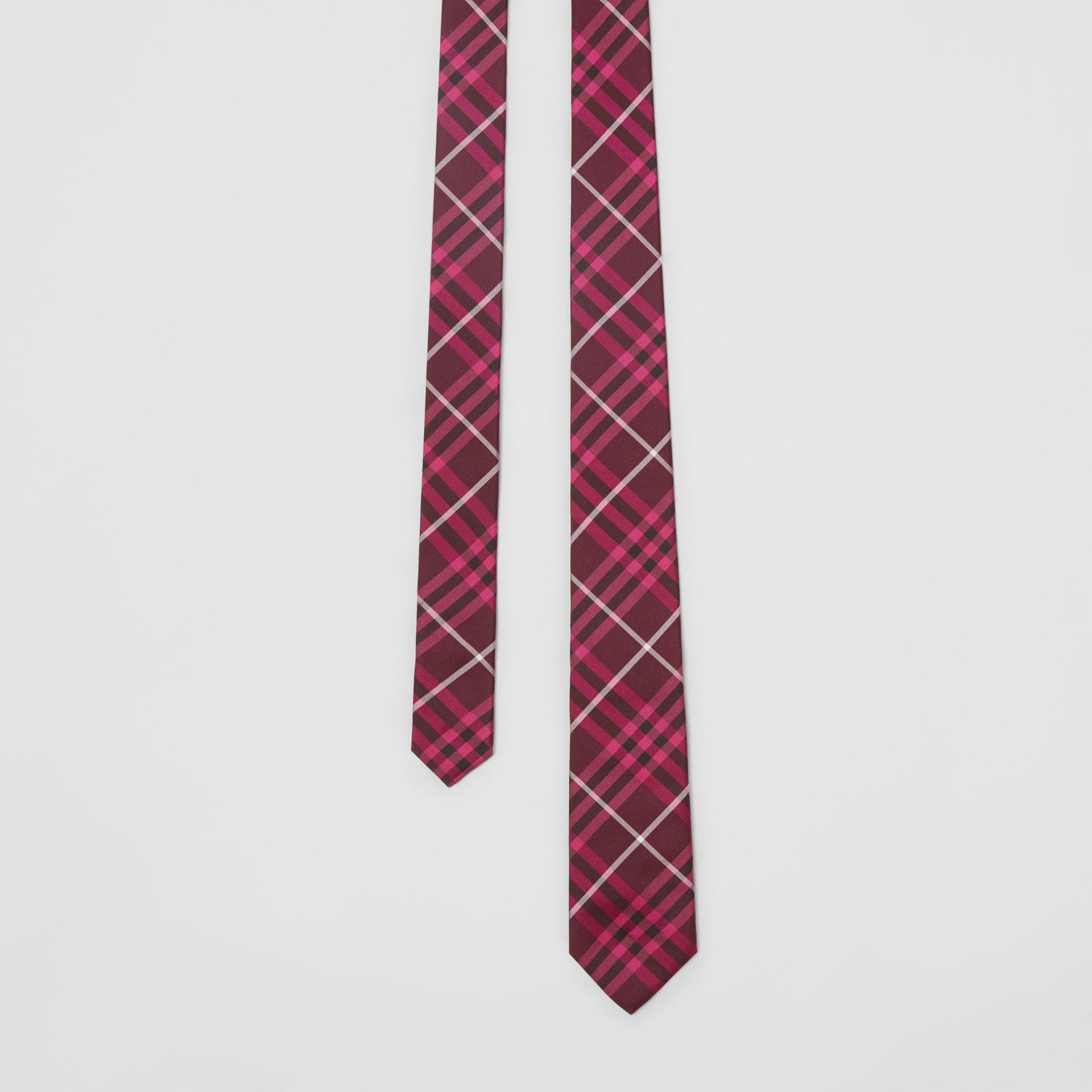 Slim Cut Check Silk Tie in Dark Elderberry - Men | Burberry - gallery image 0