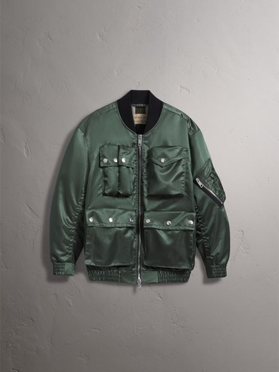 Contrast Collar Lightweight Flying Jacket in Storm Green - Men | Burberry - cell image 2