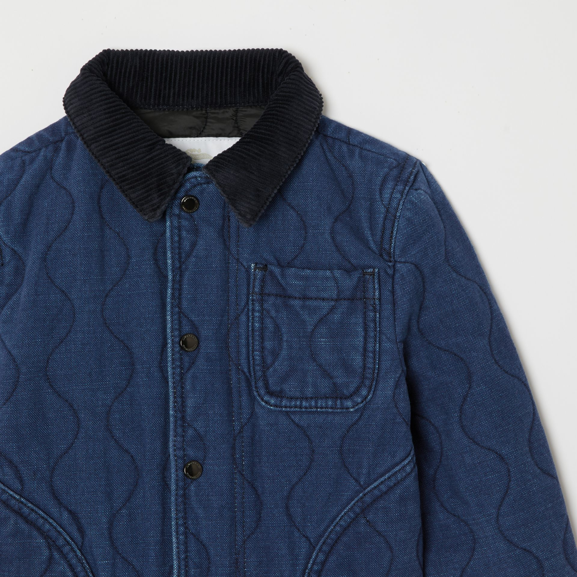 Quilted Denim Jacket in Indigo - Children | Burberry - gallery image 4