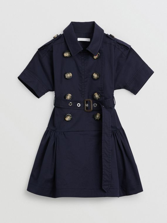 Stretch Cotton Trench Dress in Midnight