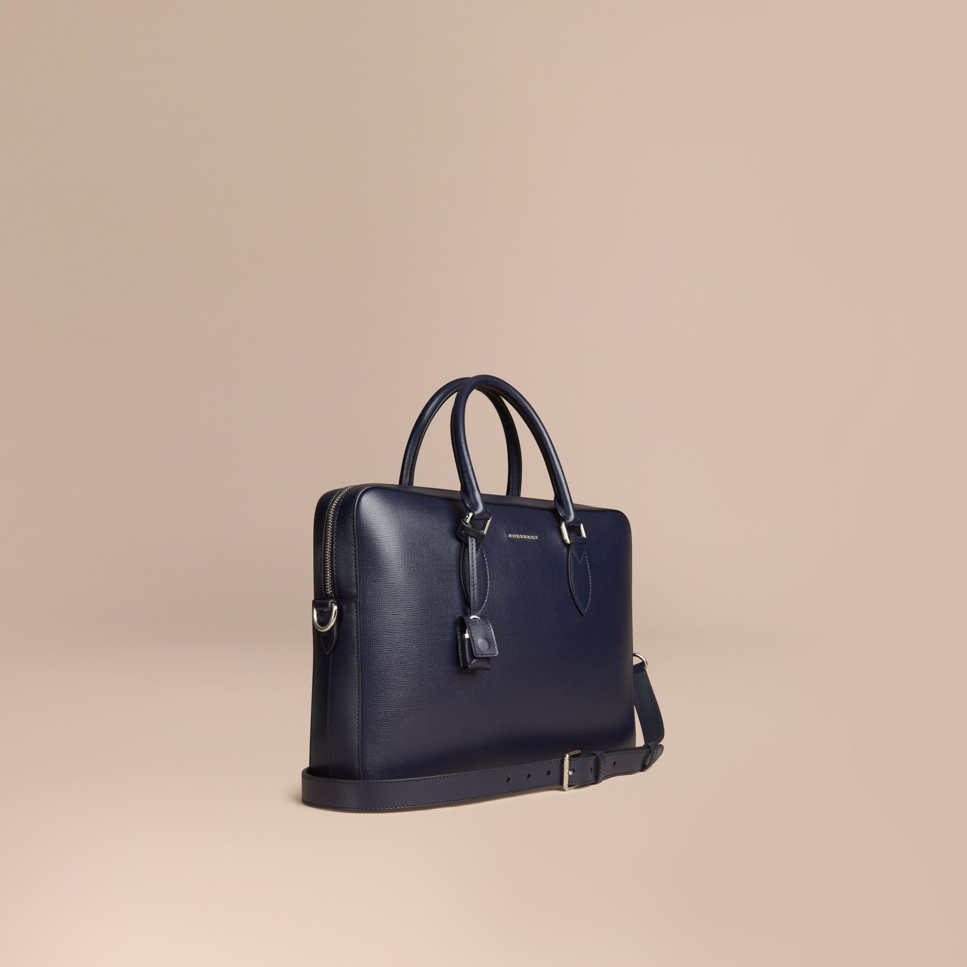 London Leather Briefcase in Dark Navy - Men | Burberry Canada - gallery image 1
