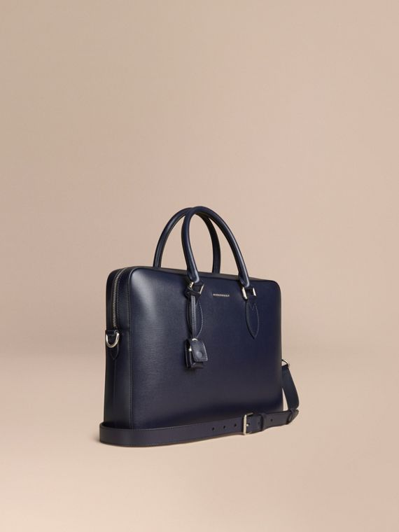 London Leather Briefcase in Dark Navy - Men | Burberry Canada