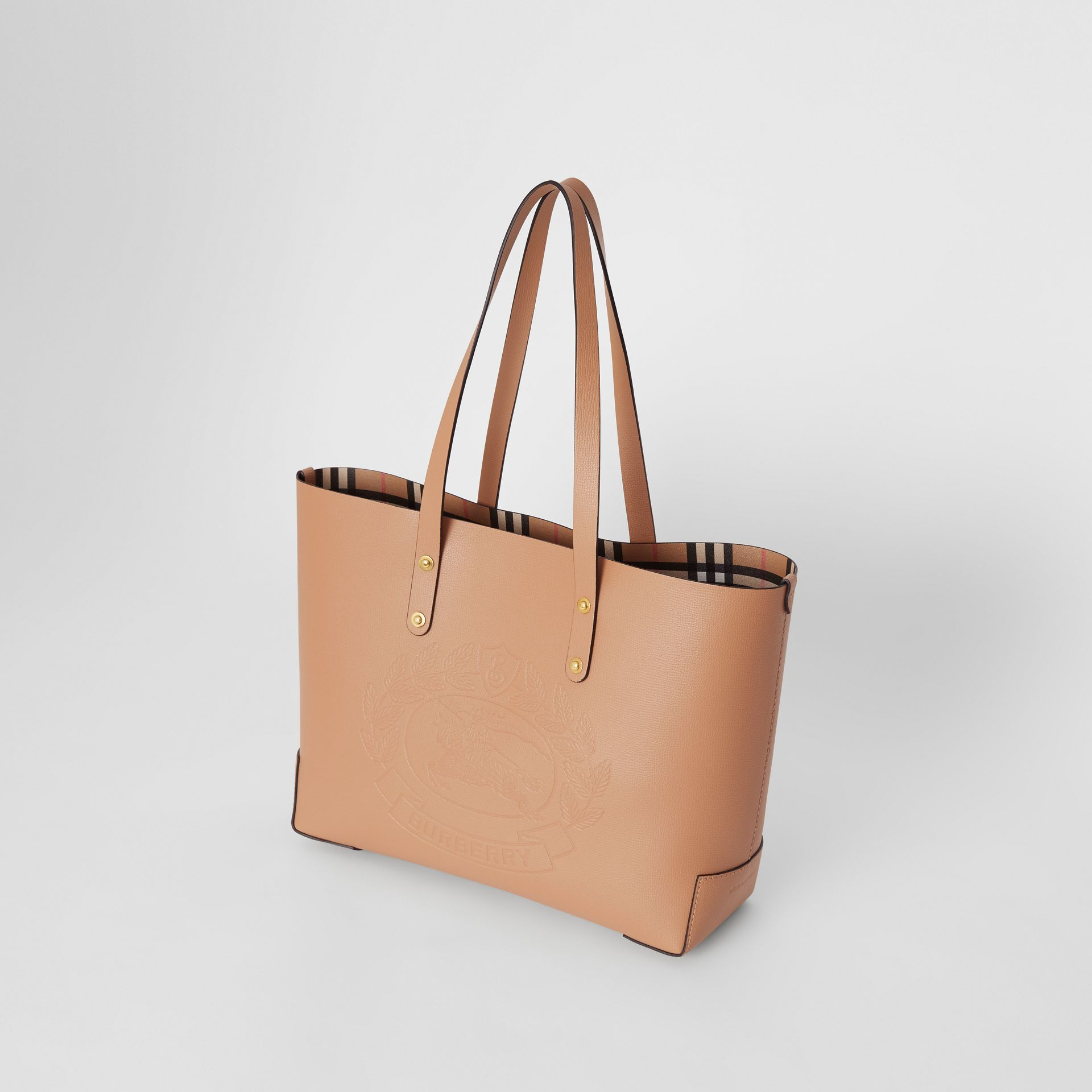 Small Embossed Crest Leather Tote in Light Camel - Women | Burberry - gallery image 4