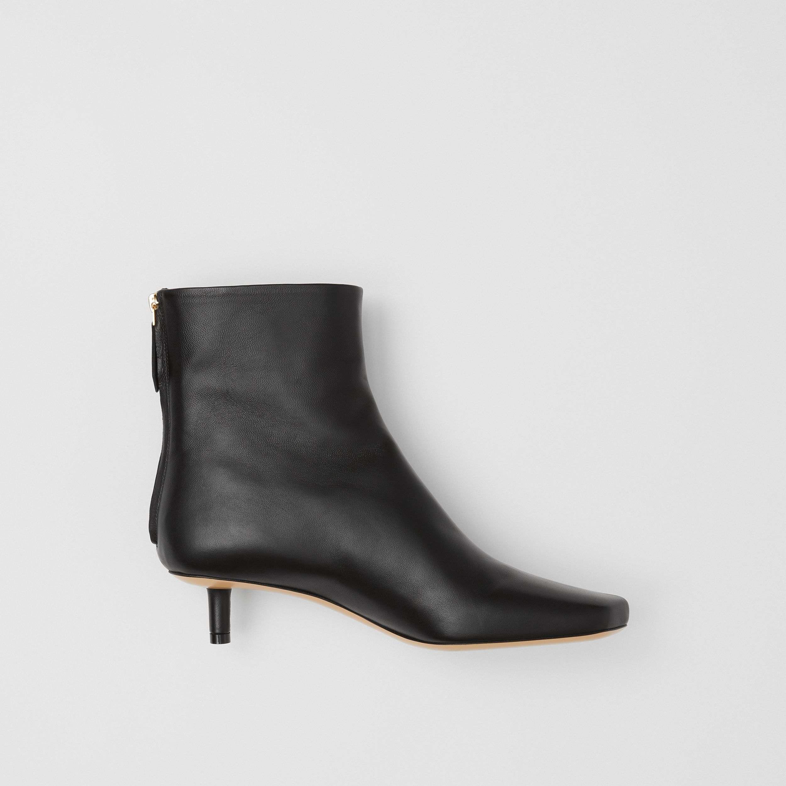 Lambskin Sculptural Kitten-heel Ankle Boots in Black - Women | Burberry - 1