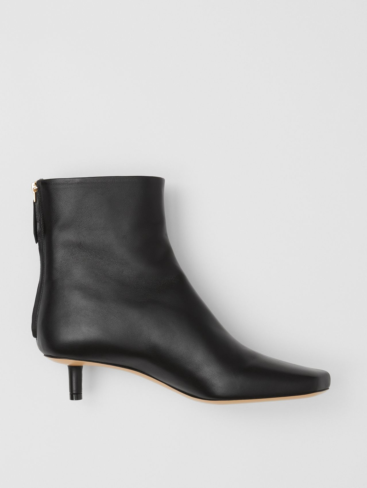 Lambskin Sculptural Kitten-heel Ankle Boots in Black