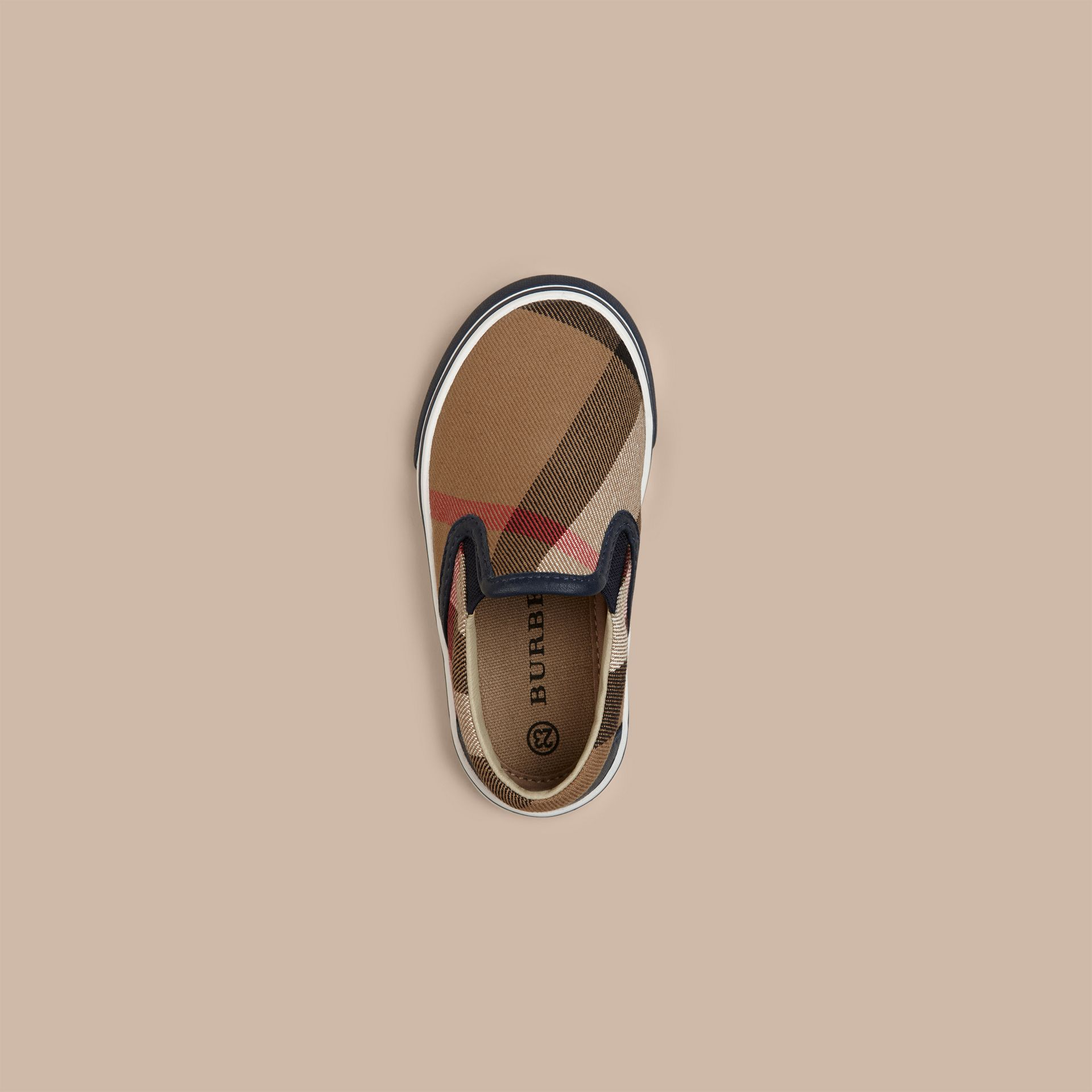 House Check Cotton Slip-On Trainers in Navy | Burberry Canada - gallery image 2
