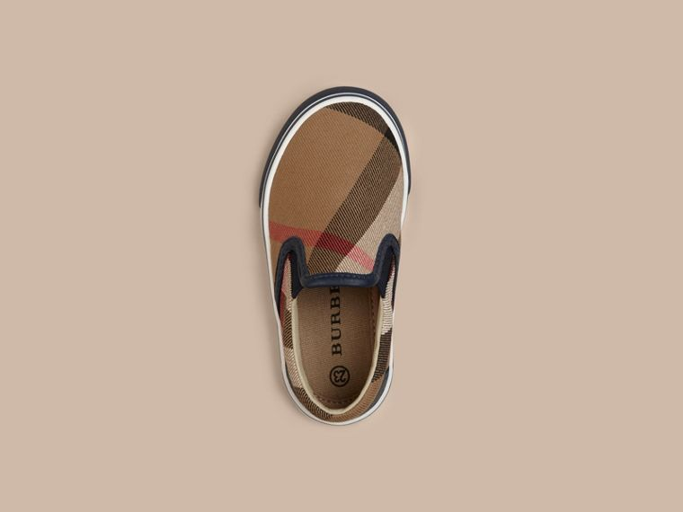 Navy House Check Cotton Slip-On Trainers - cell image 1