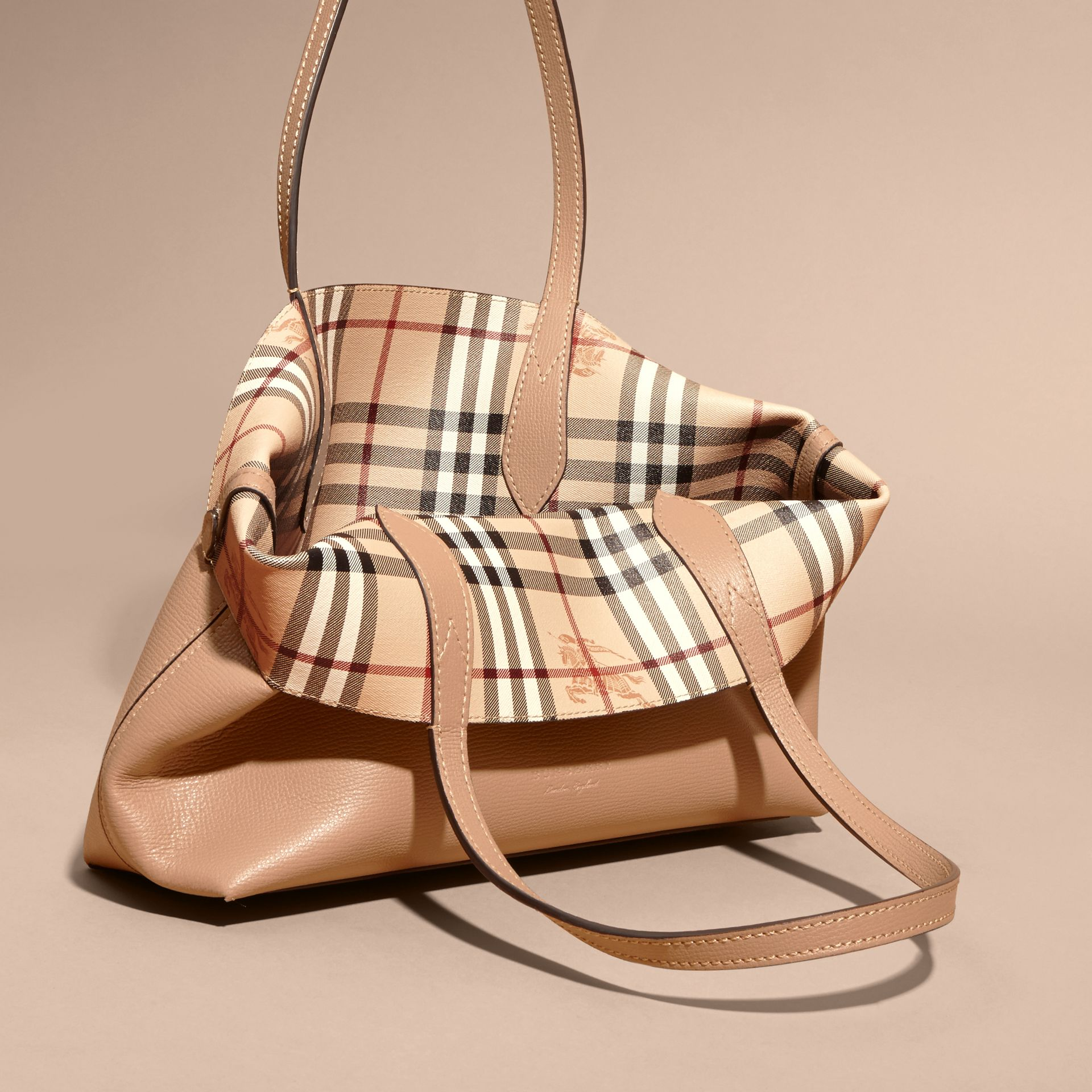 The Small Reversible Tote in Haymarket Check and Leather Mid Camel - gallery image 5
